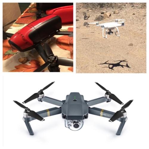 My drones (clockwise from top left) Parrot Bebop 2, DJI Phantom 4 and DJI Mavic Pro